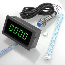 Tachometer 4 Digital Green LED Tach RPM Speed Meter Tester 10-9999 with Hall Switch Sensor NPN