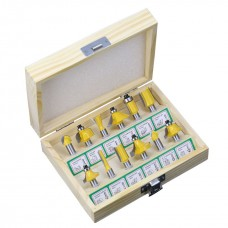 12pcs/Set Router Bits 8mm Shank Milling Cutter Carbide Woodworking Trimming Engraving Tools Yellow