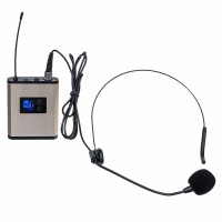 UHF Wireless Microphone System Headset Mini Microphone with Receiver Bodypack Transmitter Gold