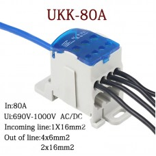 UKK-80A Distribution Box Din Rail Terminal Block 1 In Many Out Power Junction Box Wire Connector