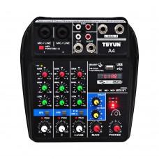 FREEBOSS A4 4 Channels Audio Mixer Bluetooth USB Sound Mixing Console 48V Phantom Power Supply