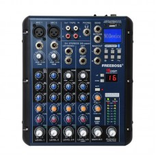 FREEBOSS SMR6 6 Channels Audio Mixer Bluetooth USB Record 2 Mono + 2 Stereo 3 Band EQ 16 DSP Effects