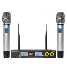 FREEBOSS FB-U09 UHF Wireless Microphone System Dual Way Digital Receiver + 2 Handheld Microphone