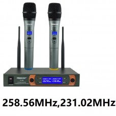FREEBOSS KV-22 VHF Wireless Microphone 2 Handheld Mic + Receiver Dynamic Capsule Mixed Output