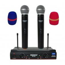 FREEBOSS KU-22 UHF Wireless Microphone System Dual Channel Receiver + 2 Handheld Mic Transmitter
