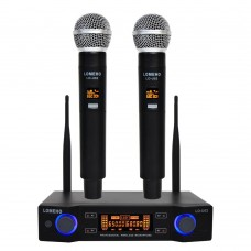 FREEBOSS LO-U02 UHF Wireless Microphone System Dual Channel Receiver 2 Handheld Mic Transmitter