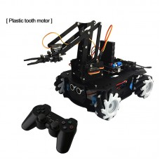 AGV Robot Car Chassis Unassembled w/ Mecanum Wheel Plastic Gear Motor Wireless Controller Robot Arm