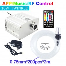 10W Fiber Optic Light Twinkle Ceiling Light Starry Lamp Bluetooth APP Control with 200pcs 2M Cable