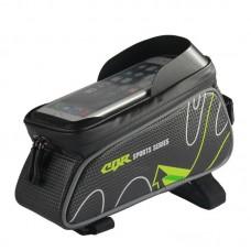 "Top Tube Frame Bag Mountain Bike Top Tube Bag 6"" Touch Screen Phone Bag with Rain Cover"