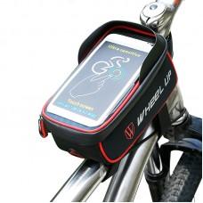 "Wheel Up Bike Phone Bag Waterproof Bicycle Frame Front Tube Bag Handlebar 6"" Touch Screen Black Red"