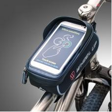 "Wheel Up Bike Phone Bag Waterproof Bicycle Frame Front Tube Bag Handlebar 6"" Touch Screen Black Gray"