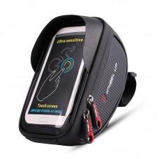 "Wheel Up Bicycle Frame Front Tube Bag Waterproof Handlebar Bike Phone Bag 6"" Touch Screen Black"