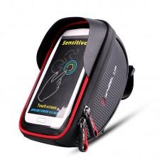 "Wheel Up Bicycle Frame Front Tube Bag Waterproof Handlebar Bike Phone Bag 6"" Touch Screen Black Red"