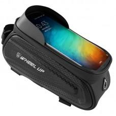 Wheel Up EVA Bike Phone Bag Waterproof Bicycle Frame Handlebar Front Tube Bag White Reflective