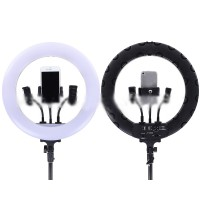 """14"""" Dimmable LED Ring Light Ring Fill Light with Phone Clip Charging Ports For Live Streaming"""