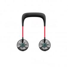 USB Rechargeable Neck Fan Hands Free Water Misting Fan Dual Neck Fan Wearable Sports Fan Black