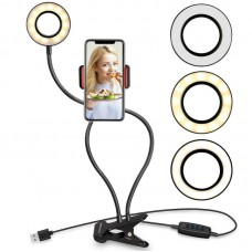 BX-06 Dimmable LED Ring Light Ring Fill Light with 360° Phone Clip For Live Streaming Selfie Vlog