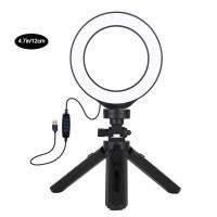 "4.7"" Dimmable LED Ring Light Vlogging Photography Video Light 3 Mode w/ Pocket Tripod Mount PKT3058B"