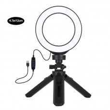"4.7"" Dimmable LED Ring Light Vlogging Photography Video Light 3 Mode w/ Pocket Tripod Mount PKT3058B"