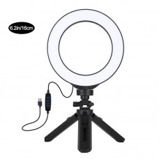 "6.2"" Dimmable LED Ring Light with Tripod Stand Vlogging Video Ring Light Photography Kit PKT3059B"