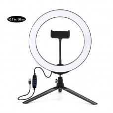 "10.2"" Dimmable LED Ring Light with Tripod Stand Phone Clip Vlogging Selfie Video Ring Light PKT3071B"