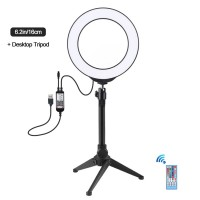 """6.2"""" RGBW Dimmable LED Ring Light with Tripod Stand Remote Control Vlogging USB Ring Light PKT3075B"""
