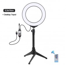 "6.2"" RGBW Dimmable LED Ring Light with Tripod Stand Remote Control Vlogging USB Ring Light PKT3075B"