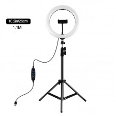 "10.2"" Dimmable LED Ring Light Selfie Video Ring Light with 1.1m Tripod Stand Phone Clip PKT3069B"