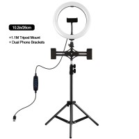 """10.2"""" Dimmable LED Ring Light with 1.1m Tripod Stand Phone Clip For Two Mobile Phones PKT3070B"""