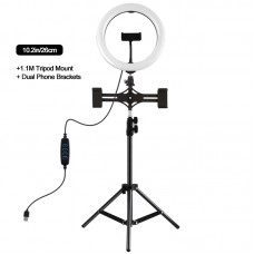 "10.2"" Dimmable LED Ring Light with 1.1m Tripod Stand Phone Clip For Two Mobile Phones PKT3070B"