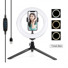 "7.9"" Desktop Ring Light Dimmable LED Ring Light with Tripod Stand Phone Clip Selfie Light PKT3073B"