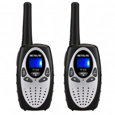 2pcs Retevis Rt628 Kids Walkie Talkies UHF 8CH 2 Way Radio 446MHz LCD Display VOX Silver
