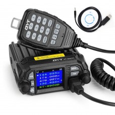 QYT KT-8900D VHF UHF Car Radio Station 2 Way Dual Band Mobile Radio Walkie Talkie with USB Cable