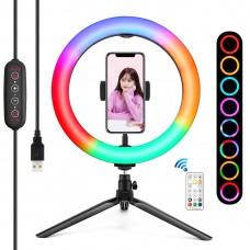 "PKT3082B 10.2"" RGBW Dimmable LED Ring Light Fill Light 168pcs LED Beads PU504B + 8.3cm Tripod Stand"