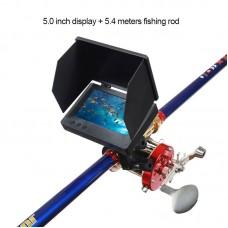 Visual Fish Finder Underwater Fishing Camera Monitor 5 Inch Display 9000 Metal Reel 5.4m Rod Kit
