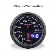 "SINCOTECH 2"" 52mm Car Water Temp Gauge Water Temperature Meter 40~140℃ 7-Color LED DO636 for 12V Car"