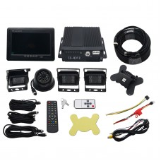 4CH Car Mobile DVR Recorder with 4 IR Light Vision Camera and Cable 7 Inch LCD Screen Set