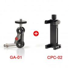 GA-01 Magic Arm + CPC-02 Mobile Phone Clamp For DSLR Camera Monitor Video Light Photography Tripod