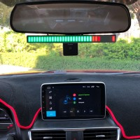 Car Sound Control Music Spectrum Light Bar Audio Music Level Display w/ Rearview Mirror Mount Kit