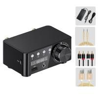 Bluetooth 5.0 Digital Power Amplifier HiFi Class D Amplifier 50Wx2 USB TF Card Player w/ Power Adapter+3pcs Cables