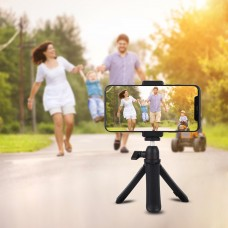 PKT3083B Phone Camera Mini Tripod Table Top Selfie Stick Tripod w/ Phone Clamp For Livestream Video