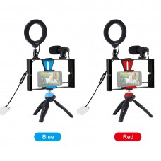 "PKT3085 Vlog Smartphone Video Rig + 4.7"" RGBW Ring Light + Microphone + Pocket Tripod + Ball Head"