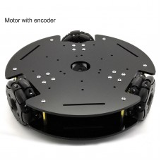 65mm Omnidirectional Three-wheel Car Chassis Kit Robot Car Chassis Platform 370 Motor with Encoder