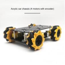 80mm Mecanum Wheel Car Chassis Kit Acrylic Omnidirectional 4WD Smart Robot Car w/ Encoder Motor Unassembled
