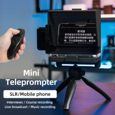 Mobile Phone Portable Teleprompter with Remote Control for Phone DSLR Recording Video Live Broadcast