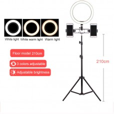 210cm Stand + 26cm Ring Fill Light + Three Phone Holders For Vlog Livestream Selfie Photography