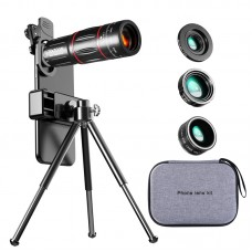 W28+D28 Photography Kit Phone Tripod Telephoto Lens Fish Eye Lens Wide Angle Macro Lens Phone Clip
