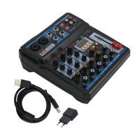 FREEBOSS AM-PSM 6 Channel Audio Mixer Bluetooth USB 2 Mono 2 Stereo 16 Effects 48V Phantom Power