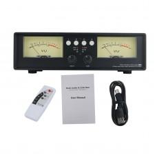 VU2-L Bulb Version MIC+LINE Dual VU Meter Audio Splitter Box 4-Way Switcher Sound Level Indicator