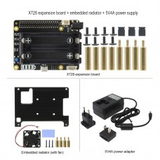 X728 Expansion Board UPS Power Management Board w/ Radiator Power Adapter for Raspberry Pi